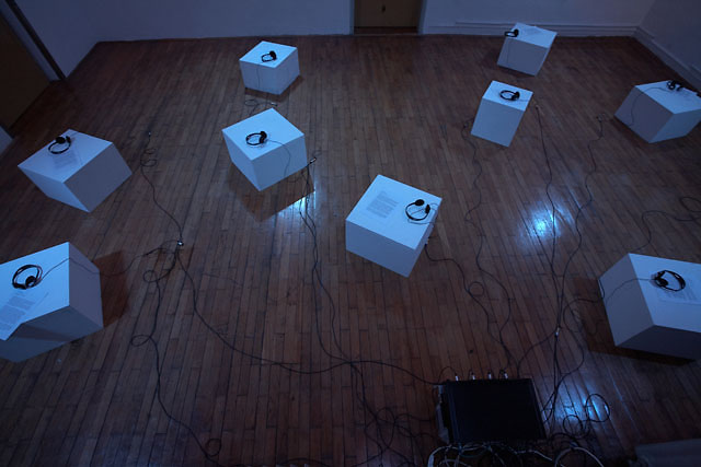 Installation view, City Of Women Festival, Ljubljana: revised soundtrack for a 2 channel installation