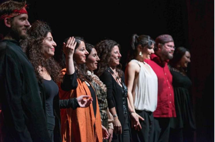 From left to right: Bodek Janke, Cynthia Zaven, Negar Bouban, Feruza Ochilova, Caroline Thon, Simin Tander, Alex Morsey and Veronica Todorova at the Halle Opera House, February 2014 -  photo by Raisa Galofre
