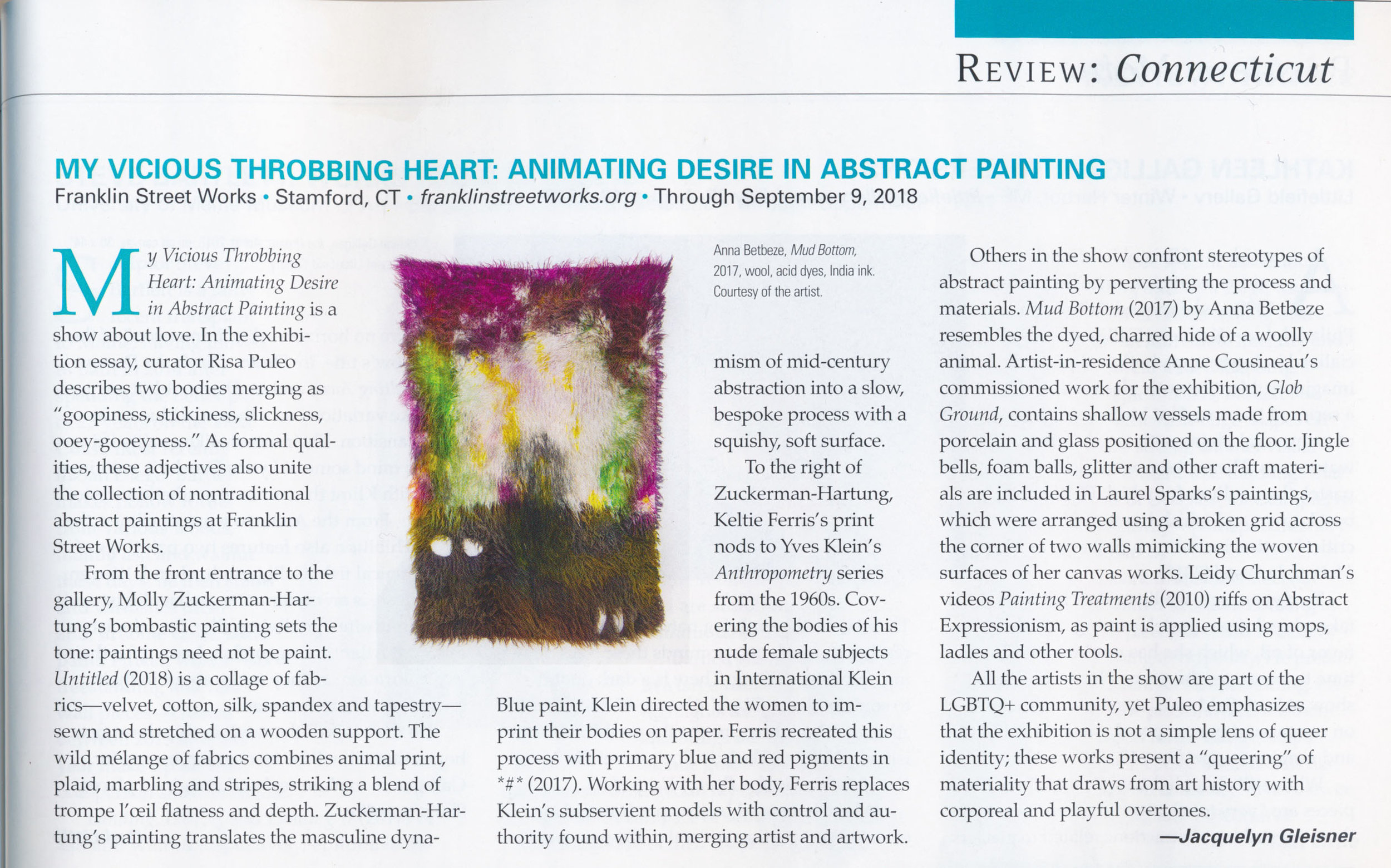 July/August 2018 issue of  Art New England,  p. 79