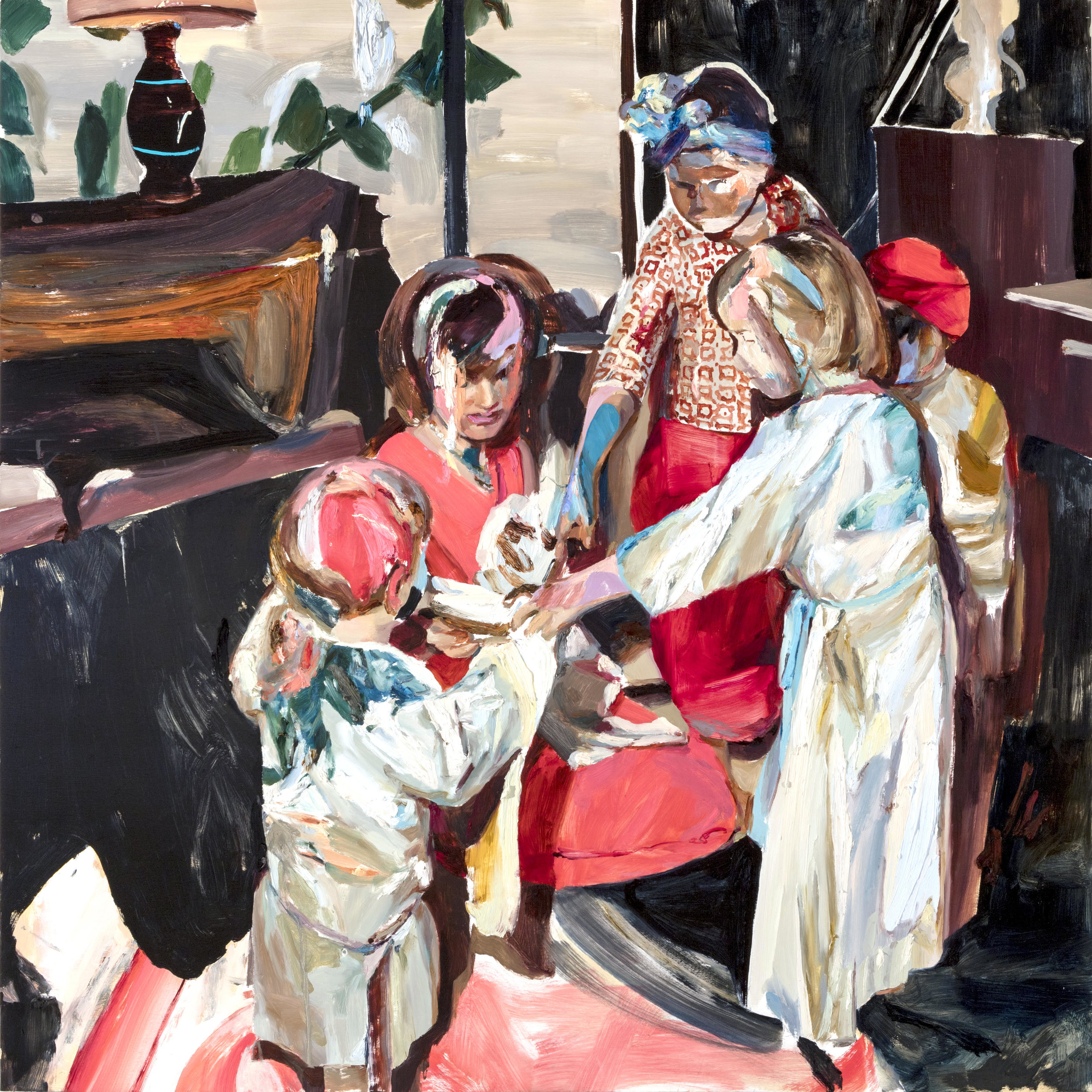 Jaclyn Conley,  Christmas Pageant  (2018). Oil on panel, 60 inches square. Image courtesy of the artist.