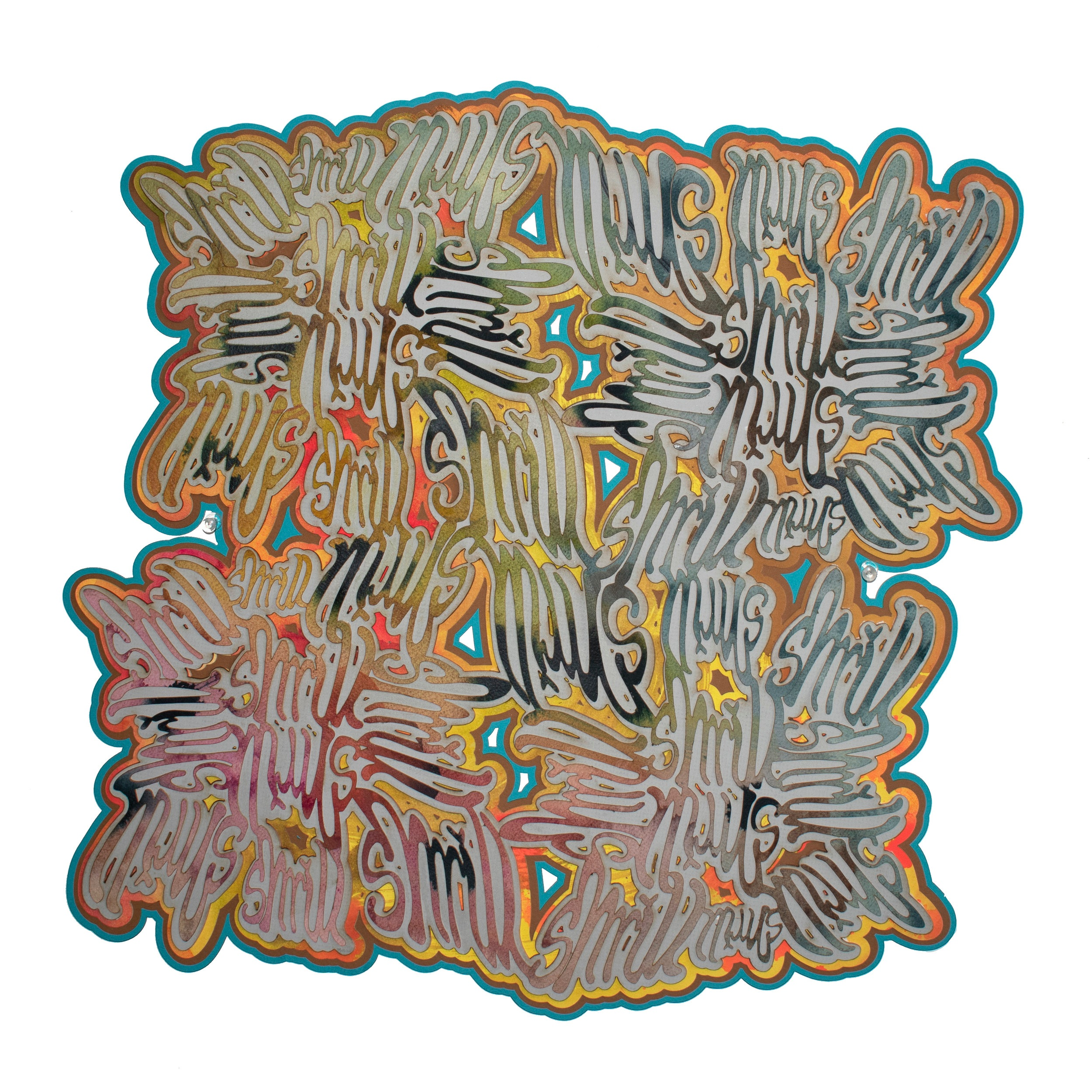 Shrill  (2019). Laser cut paper and mat board, approximately 18 inches square.
