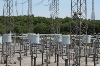 A transmission substation that brings electricity to the U.S. from Canada. Photo by Mark Lorenz, Boston Globe.