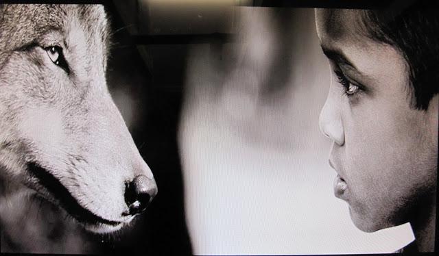 """""""Dreng og ulv"""" malet med udgangspunkt i dette foto (fundet på nettet i sort/hvid), ukendt kilde."""