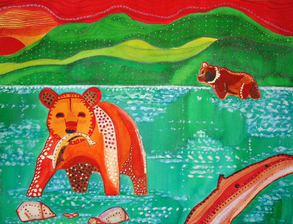 Bjørne på fiskeri