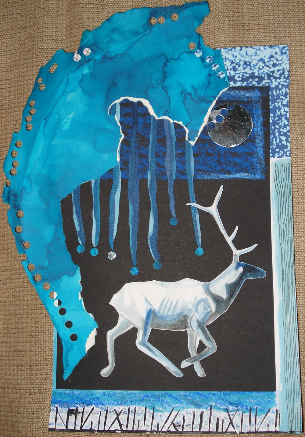 Fødselsdagskort til Birgit. Udført i fedtefarve og flydende akvarel.