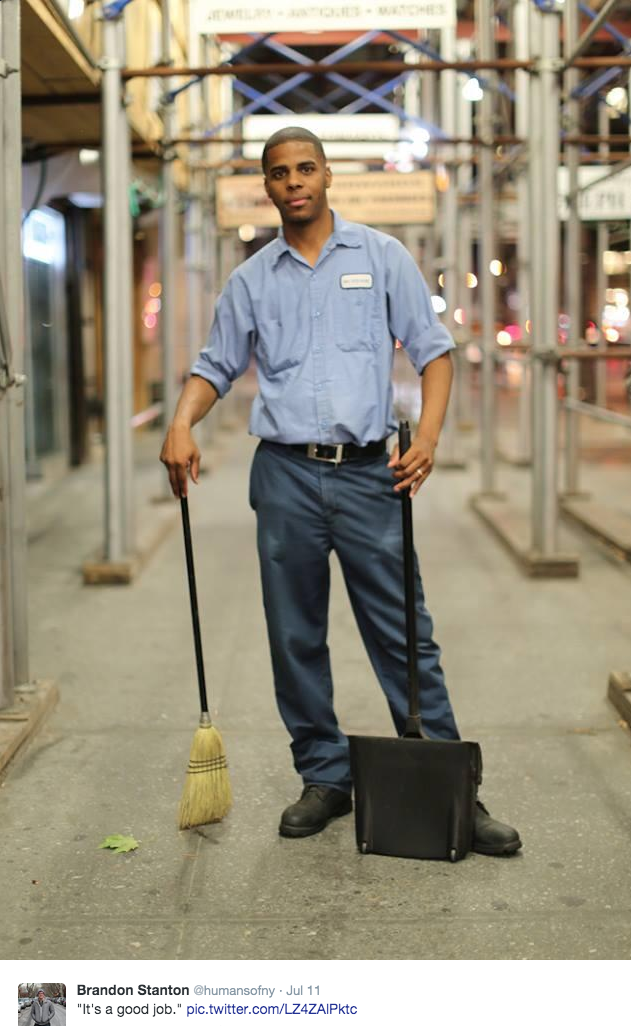 """""""If a man is called to be a street sweeper, he should sweep streets even as a Michaelangelo painted, or Beethoven composed music or Shakespeare wrote poetry. He should sweep streets so well that all the hosts of heaven and earth will pause to say, 'Here lived a great street sweeper who did his job well."""" -MLK Jr.    Photo from Humans of New York"""