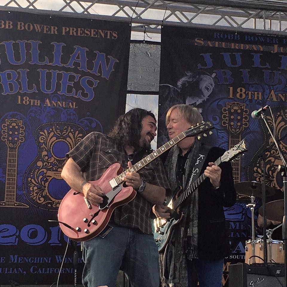 THE ALASTAIR GREENE BAND PERFORMED AT THE JULIAN BLUES BASH. AFTER THEIR SET ALASTAIR WAS ASKED TO SIT IN WITH BRITISH BLUES LEGENDS KIM SIMMONDS & SAVOY BROWN.
