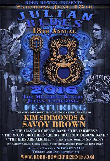 THE JULIAN BLUES BASH FEATURED KIM SIMMONDS & SAVOY BROWN AND THE ALASTAIR GREENE BAND.