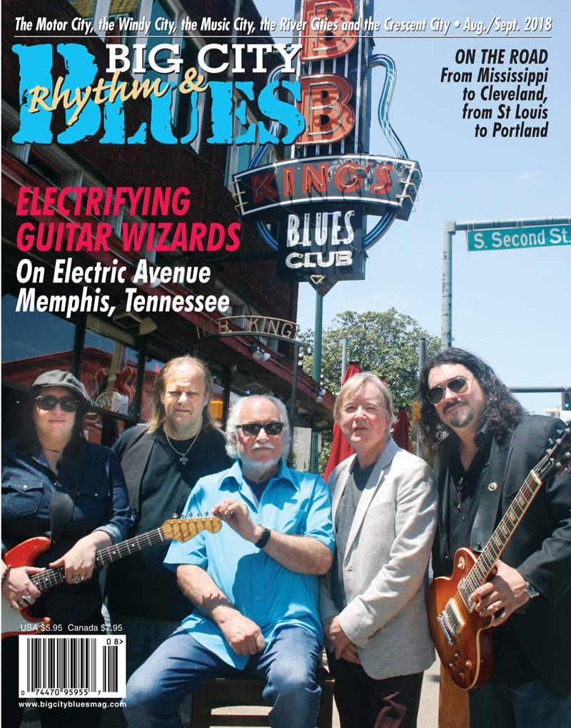 Electrifying Guitar Wizards On Electric Avenue Memphis, TN L-R LAURA CHAVEZ, WALTER TROUT, BOB MARGOLIN, KIM SIMMONDS, AND ALASTAIR GREENE