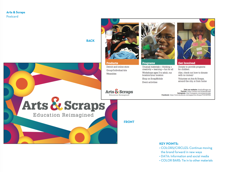 Presentation Proposal Slide Example featuring postcard design for Arts & Scraps  from student designers Kathleen Peterson, Lindsay Quinnand Jim Muehlheim.