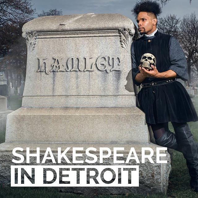 """New logo and branding proposal for @shakespeareindetroit by @oaklandu students Jeanette Handy, Ciara Janay and Ali Muhajab. The group developed a new logo that works with a system of branded graphics that focuses on Shakespeare in Detroit producing site specific performances and's vision of being the """"Shakespeare organization of the city"""" while also reaching a new audience of language speakers. The new branding uses bold typography, consistency across materials and a minimal color palette to develop brand recognition. Slide through to see a social media post advertising a future performance and how the branded graphics can reach a Spanish speaking audience in the form of a post card. Would you choose this for the rebranded identity? Why or why not?"""