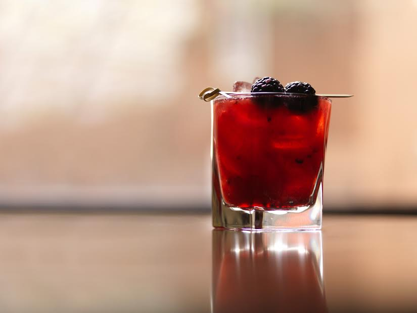 Black Sapphire   starts with crushed blackberries that are then mixed with yuzu, Domaine de Canton Ginger and Bombay Sapphire.