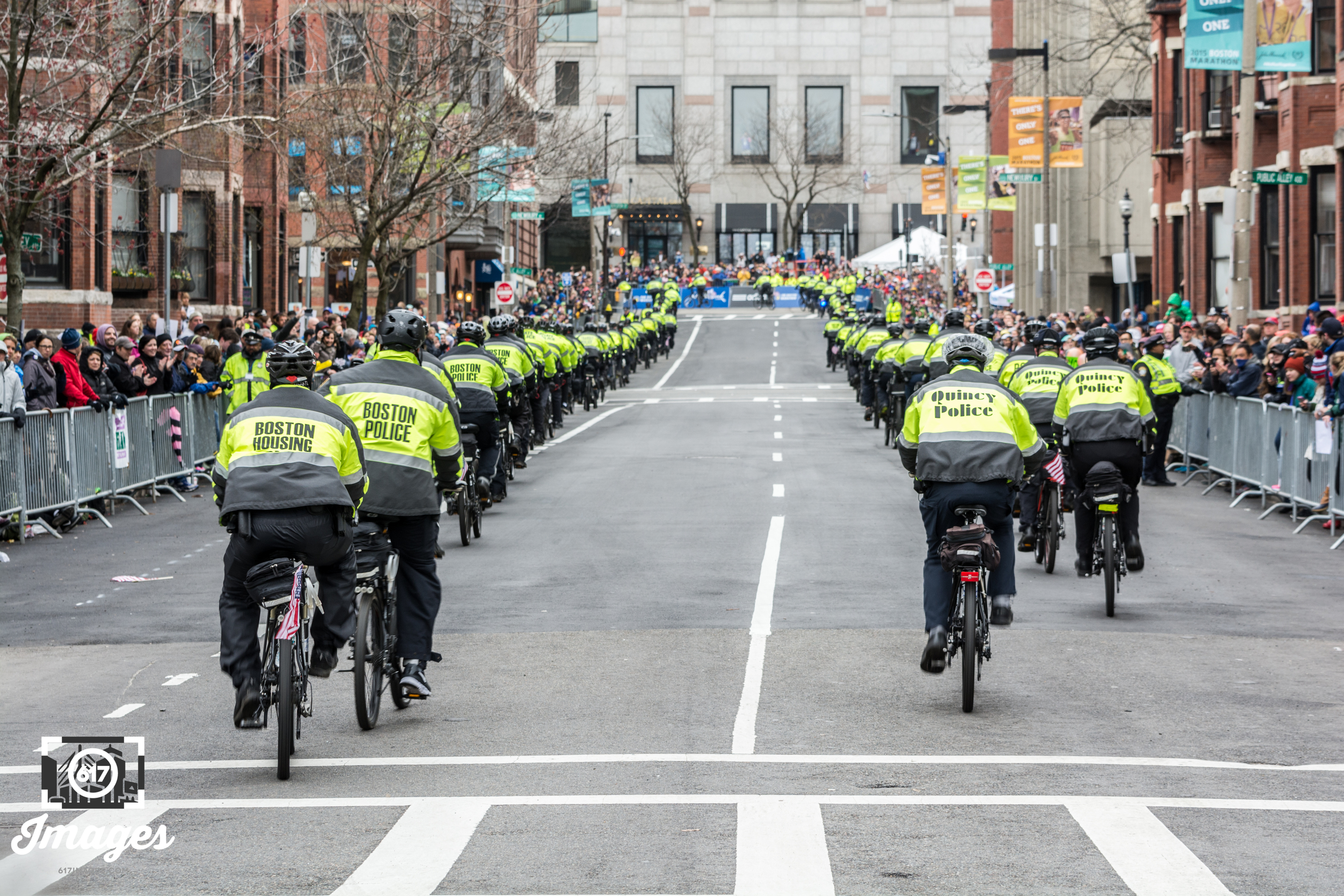 The Boston Police Bike Brigade keeping runners, spectators and the city safe.