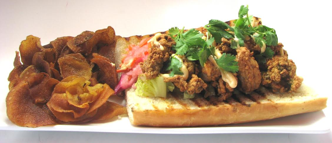 From  Legal Test Kitchen (225 Northern Avenue, Boston)Fried Oyster Bahn Mi - pickled vegetables, chipotle aioli ($14.95)