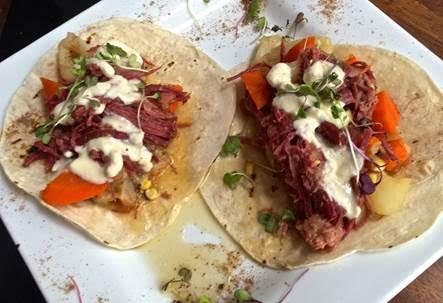 Jalapeno Spiked Corned Beef Tacos from Poe's Kitchen at the Rattlesnake .