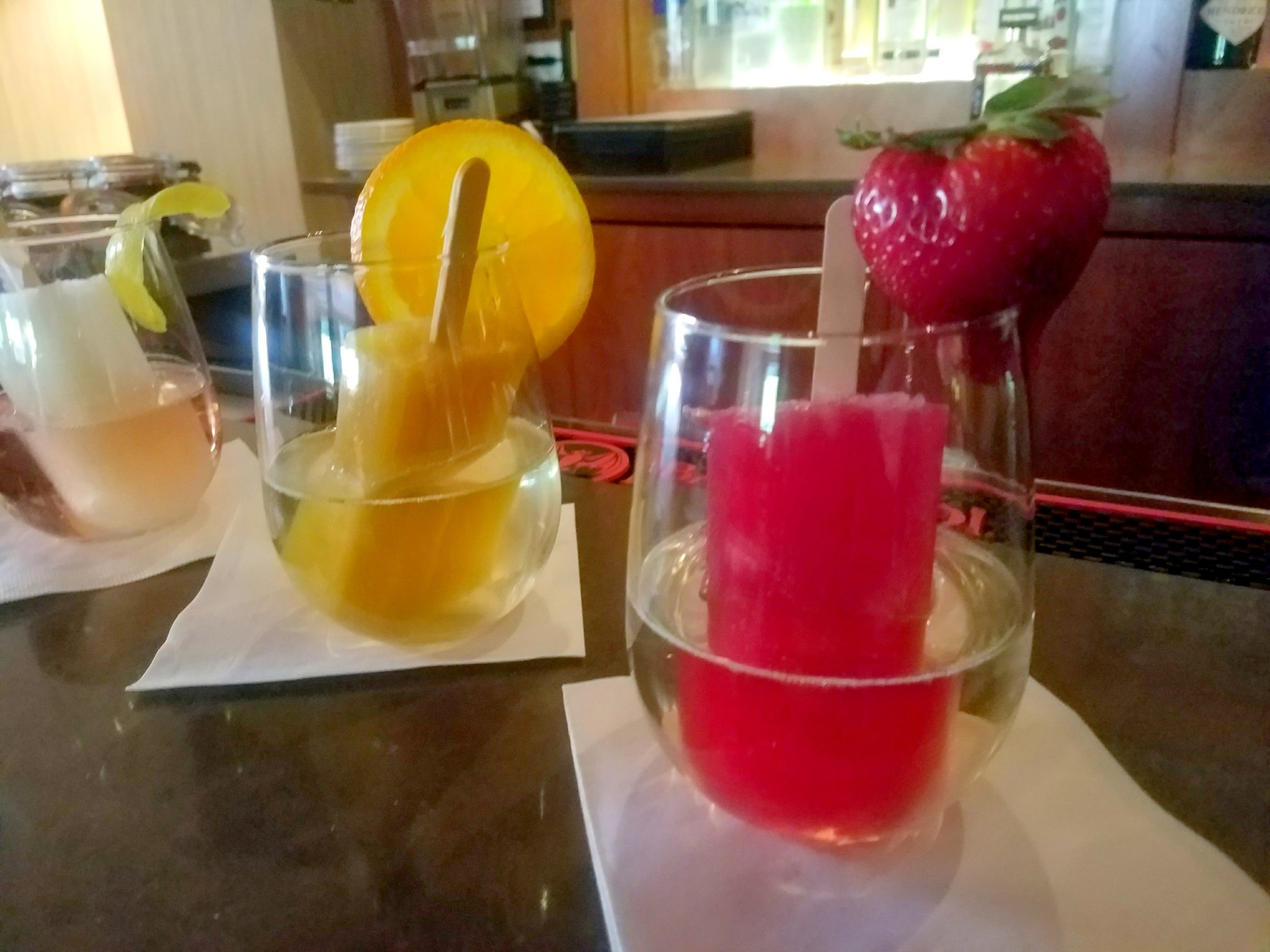 """I took them up on the chance to try all three """"Poptails"""" Peach with Bullit Bourbon was my favorit."""