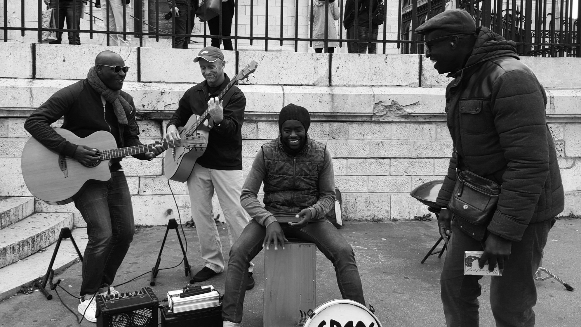"Fun Jamming with local Parisian band ""Presteej"" at the steps pf the Famous Sacre Coeur in Paris!"