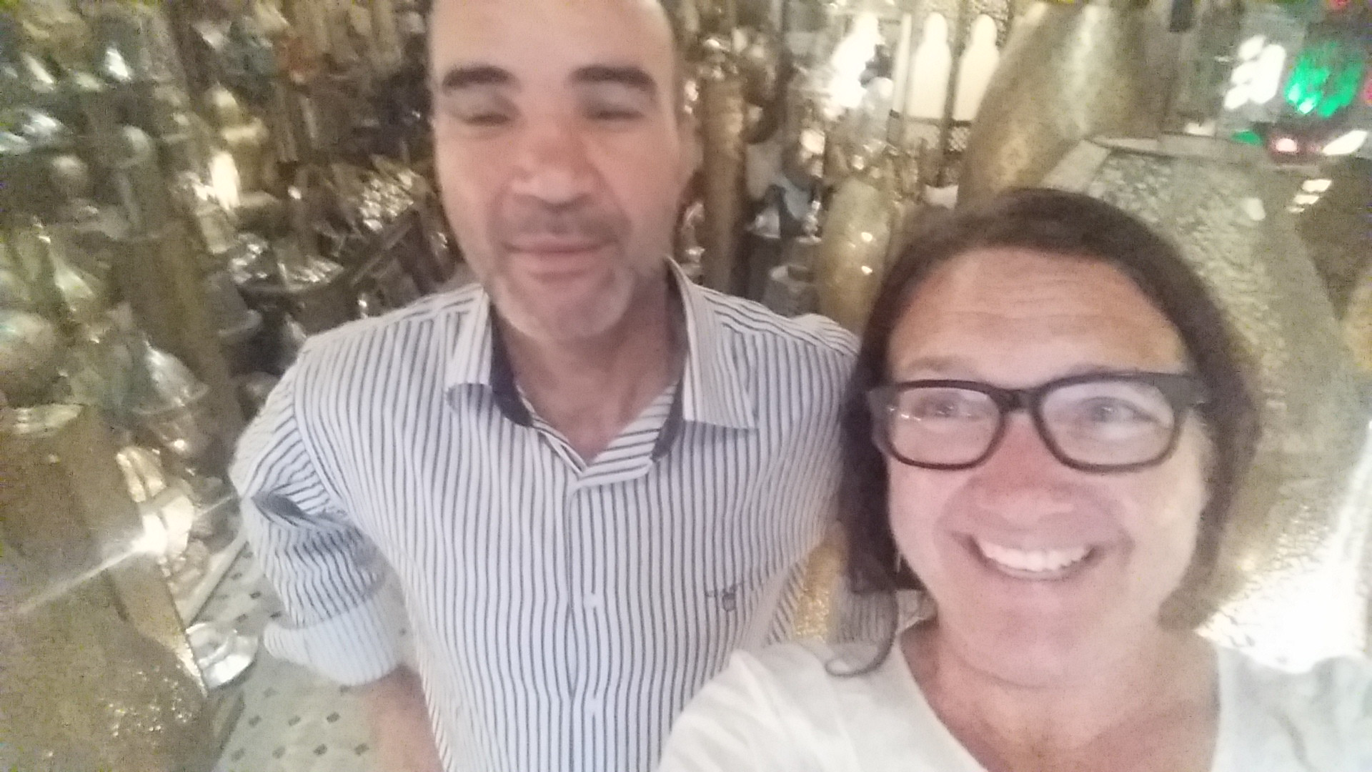 A very unflattering photo of me & Mohammed, a local shop owner in Fes, this past June.