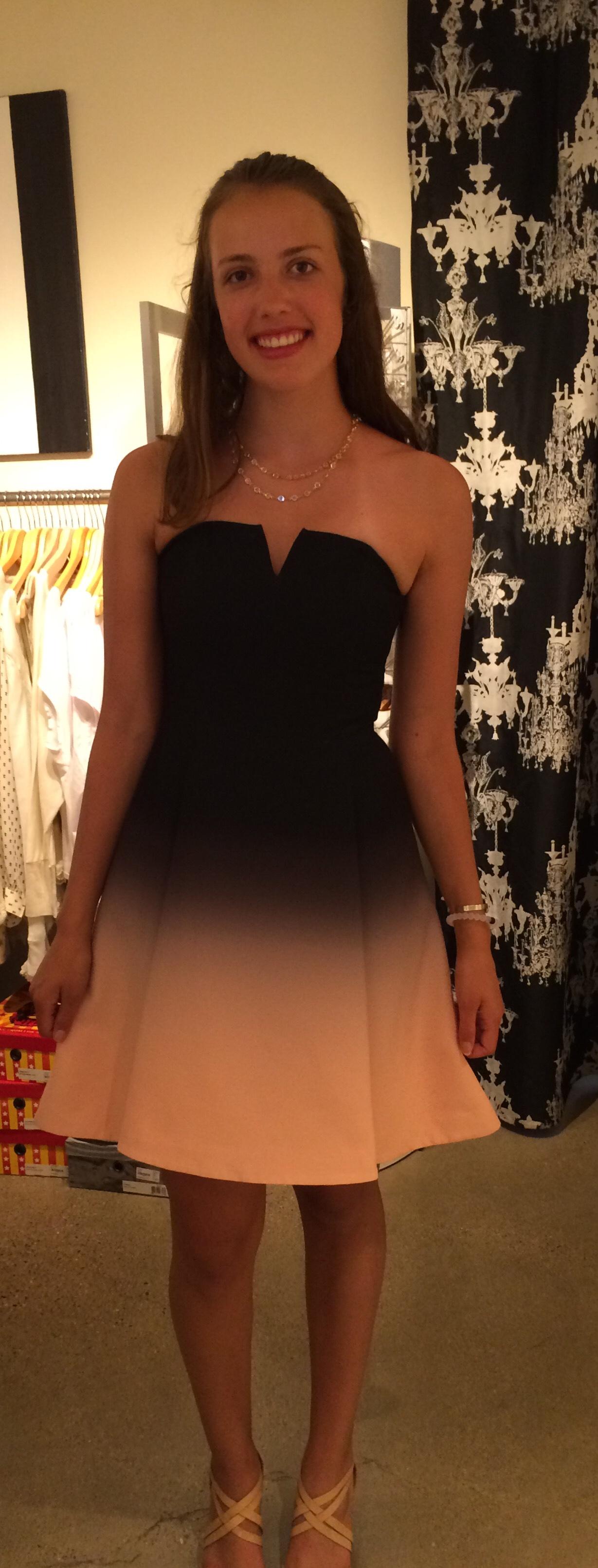 Here's the dress when I originally tried it on in San Louis Obispo, California. Halston Heritage, $445.00