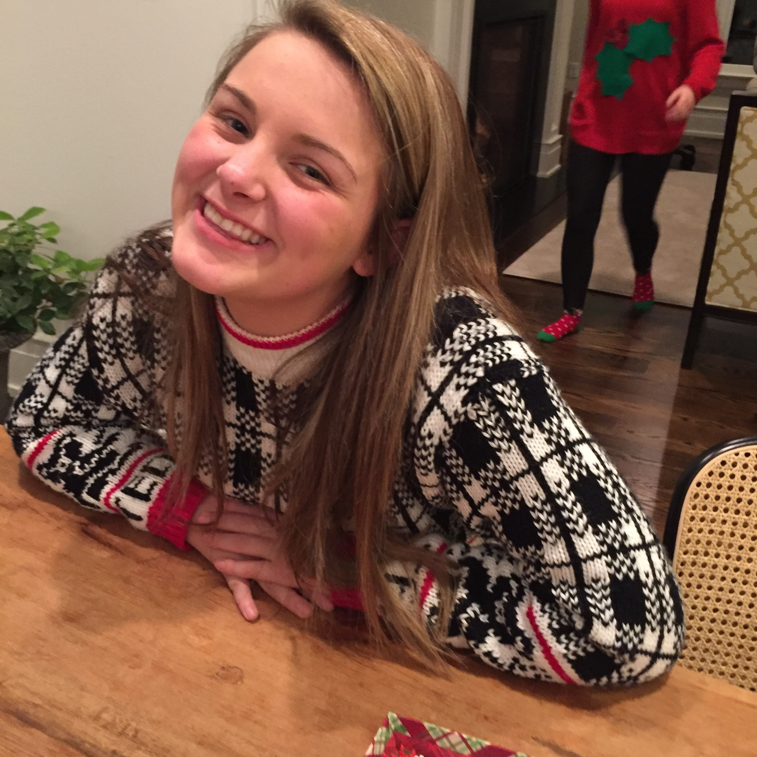 I adored Hannah's sweater... She told me it was her mom's from the 70's! Love it.