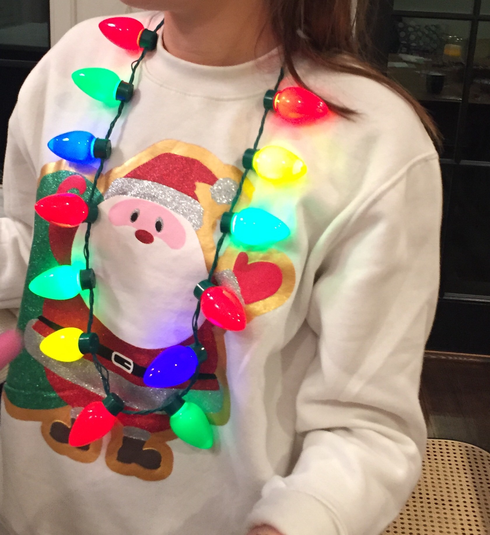 Speaking of lights... Check out Drew's necklace!