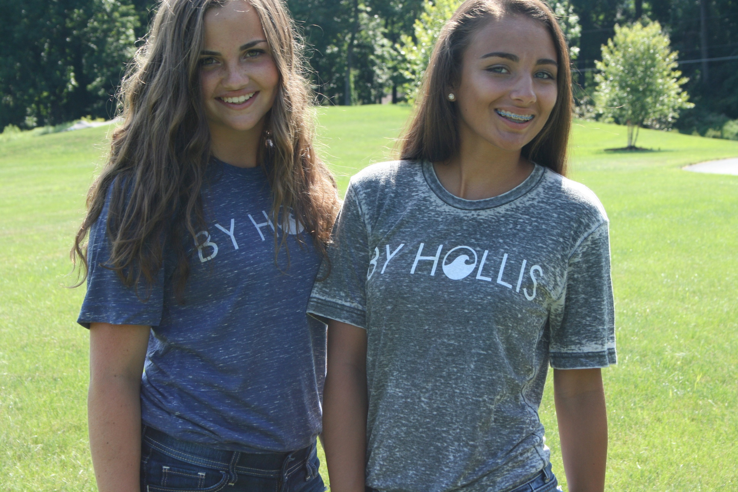 The first photo shoot with Bayleigh and Molly in the new shirts.