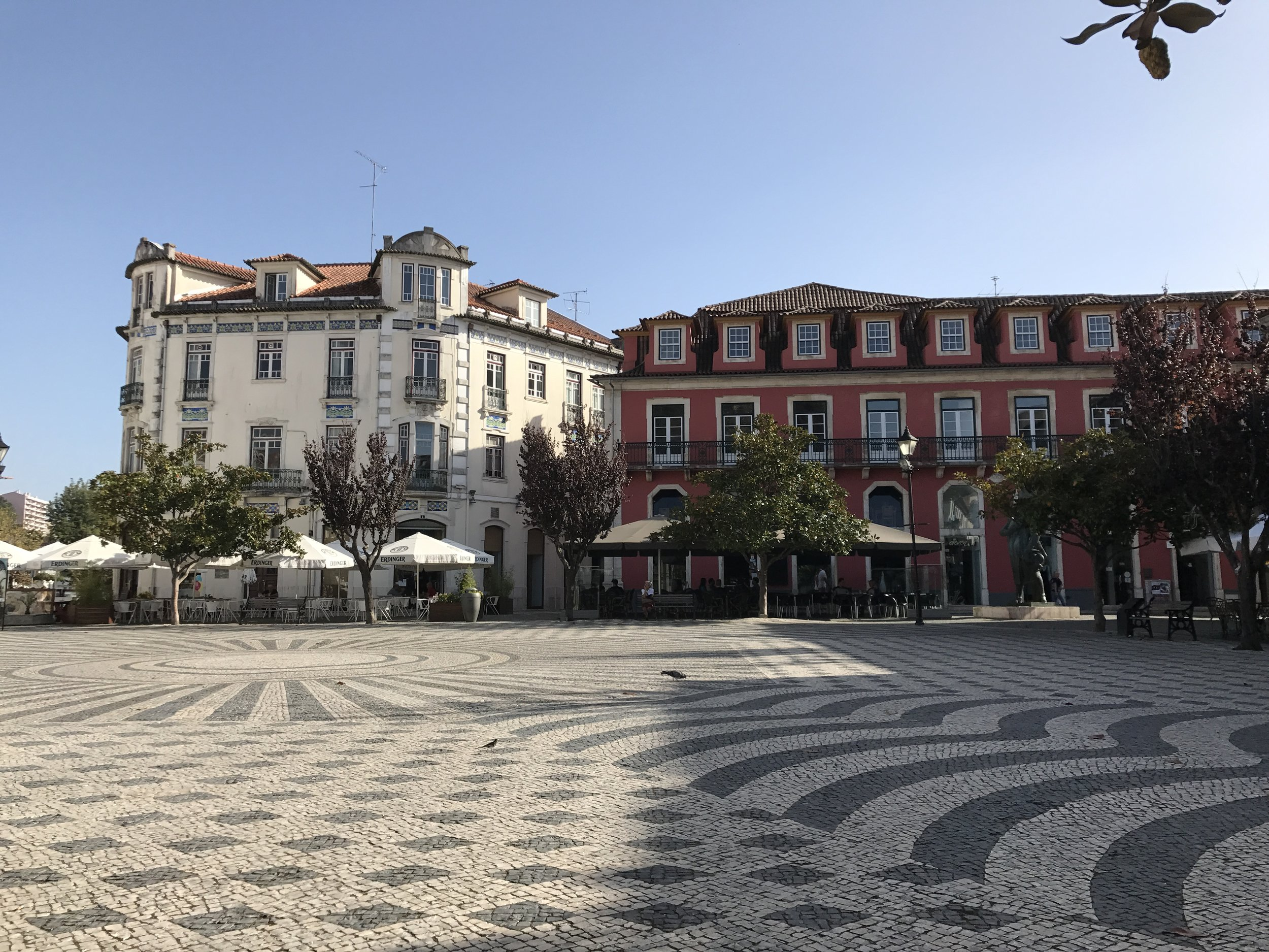 Leiria city! One of my favorite spots. In October it was a little warmer than it is now, so I'd go sit on this bench and take in the view. I study arts here, so we are constantly sketching, and this is the perfect spot for it.