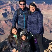 Lou with wife Sonia and daughters Sarah and Sofia, at the Grand Canyon