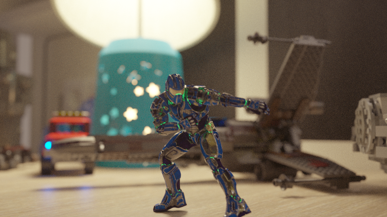 Early render tests out of Octane. The scale of the scene contributes heavily to the shallow depth of field,  adding to the sense of this action figure being a small toy.