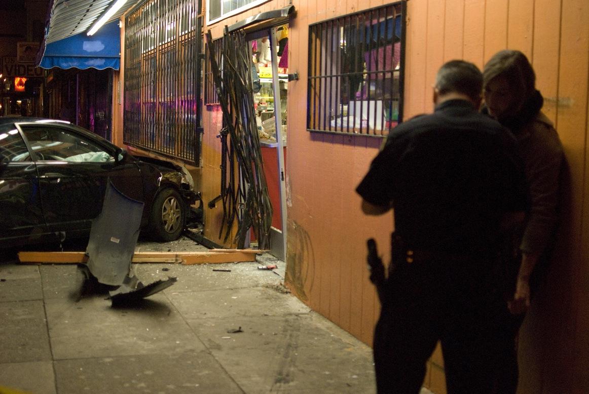 High speed crash into a market in San Francisco, Calif. 2/22/12