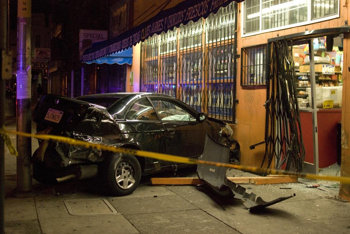 High speed car crash into a market in San Francisco, Calif. 2/22/12