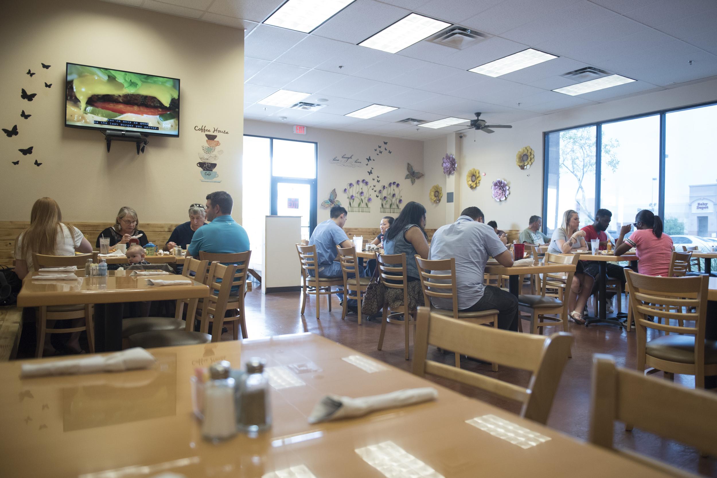 The dining area is shown at BabyStacks in Henderson, Friday, June 26, 2015.(Jason Ogulnik/Las Vegas Review-Journal)