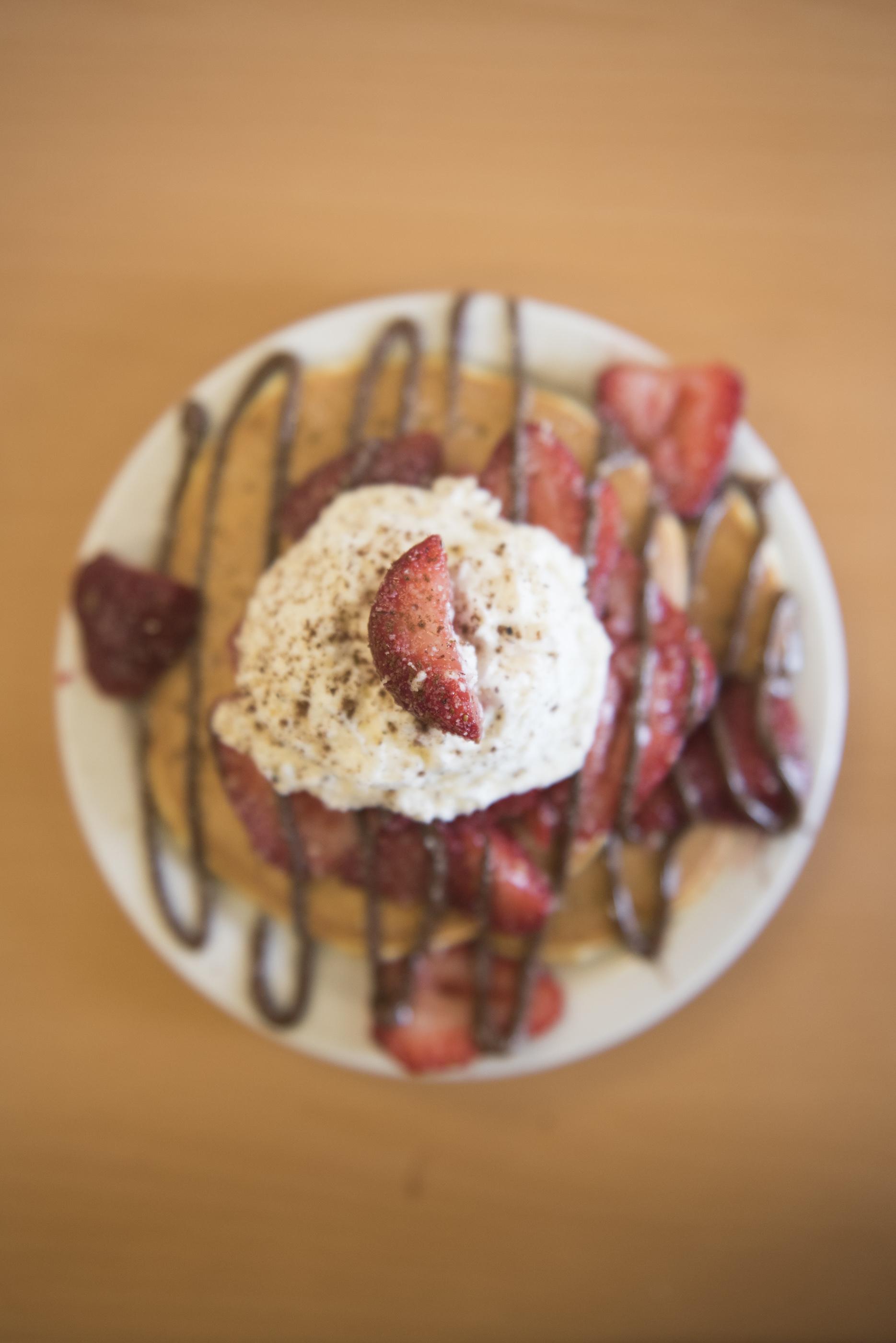 Hazelnut Pancakes with Strawberries is shown at BabyStacks in Henderson, Friday, June 26, 2015.(Jason Ogulnik/Las Vegas Review-Journal)