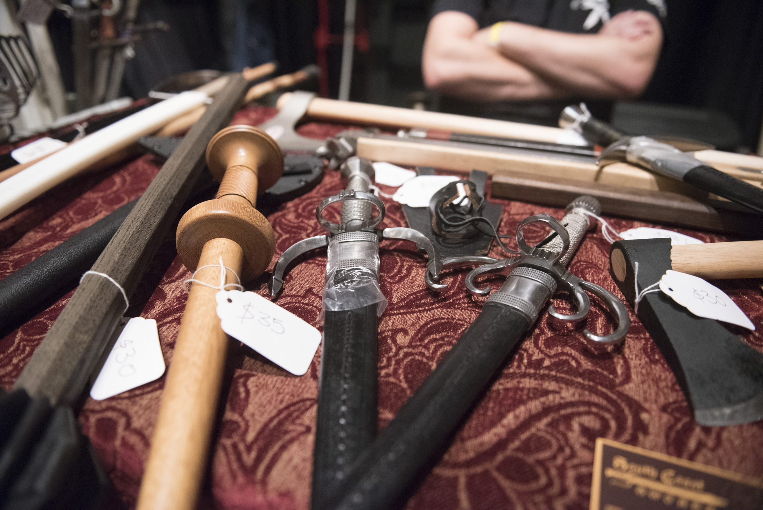 A vendors displays their goods on the conference floor at CombatCon at The Palms Resort and Casino in Las Vegas, Saturday, June 27, 2015.(Jason Ogulnik/Las Vegas Review-Journal)