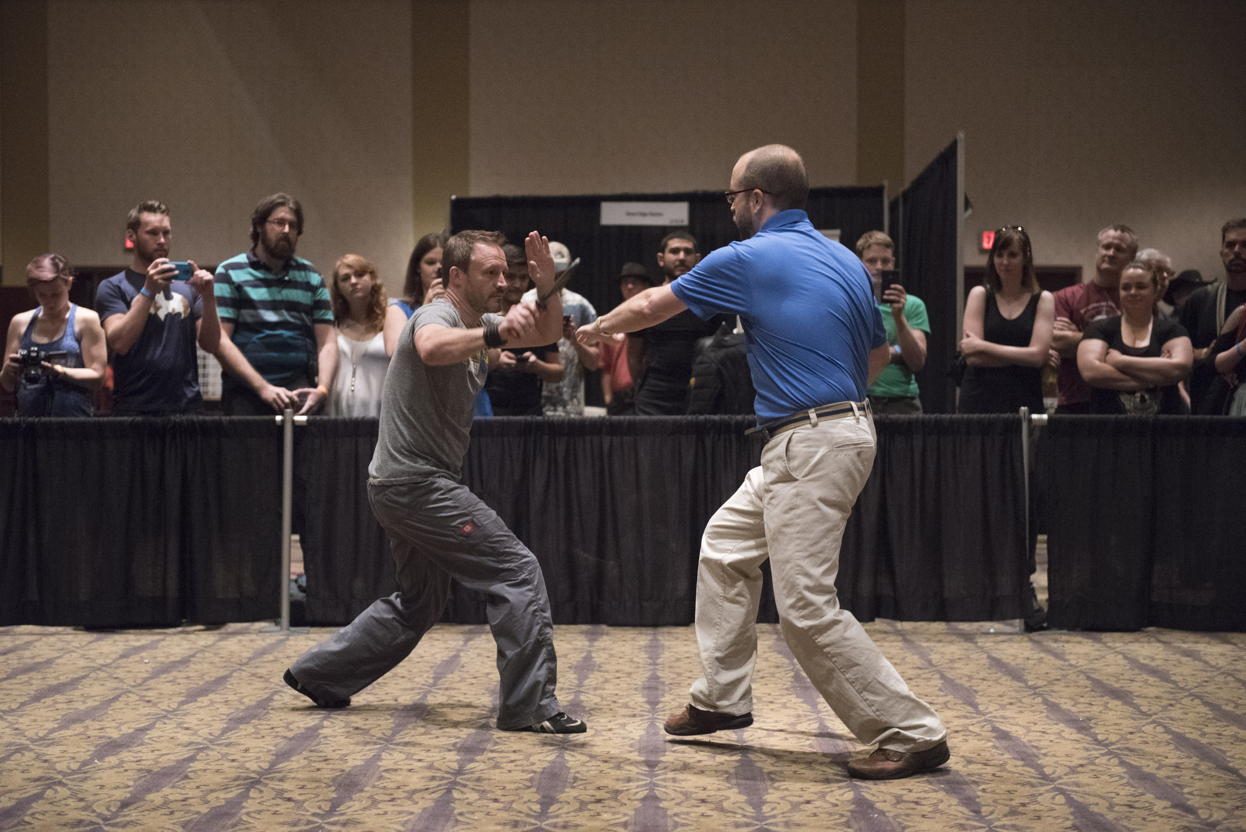 Steve Huff, left, and Jared Kirby demo a Shocknife at CombatCon at The Palms Resort and Casino in Las Vegas, Saturday, June 27, 2015.(Jason Ogulnik/Las Vegas Review-Journal)
