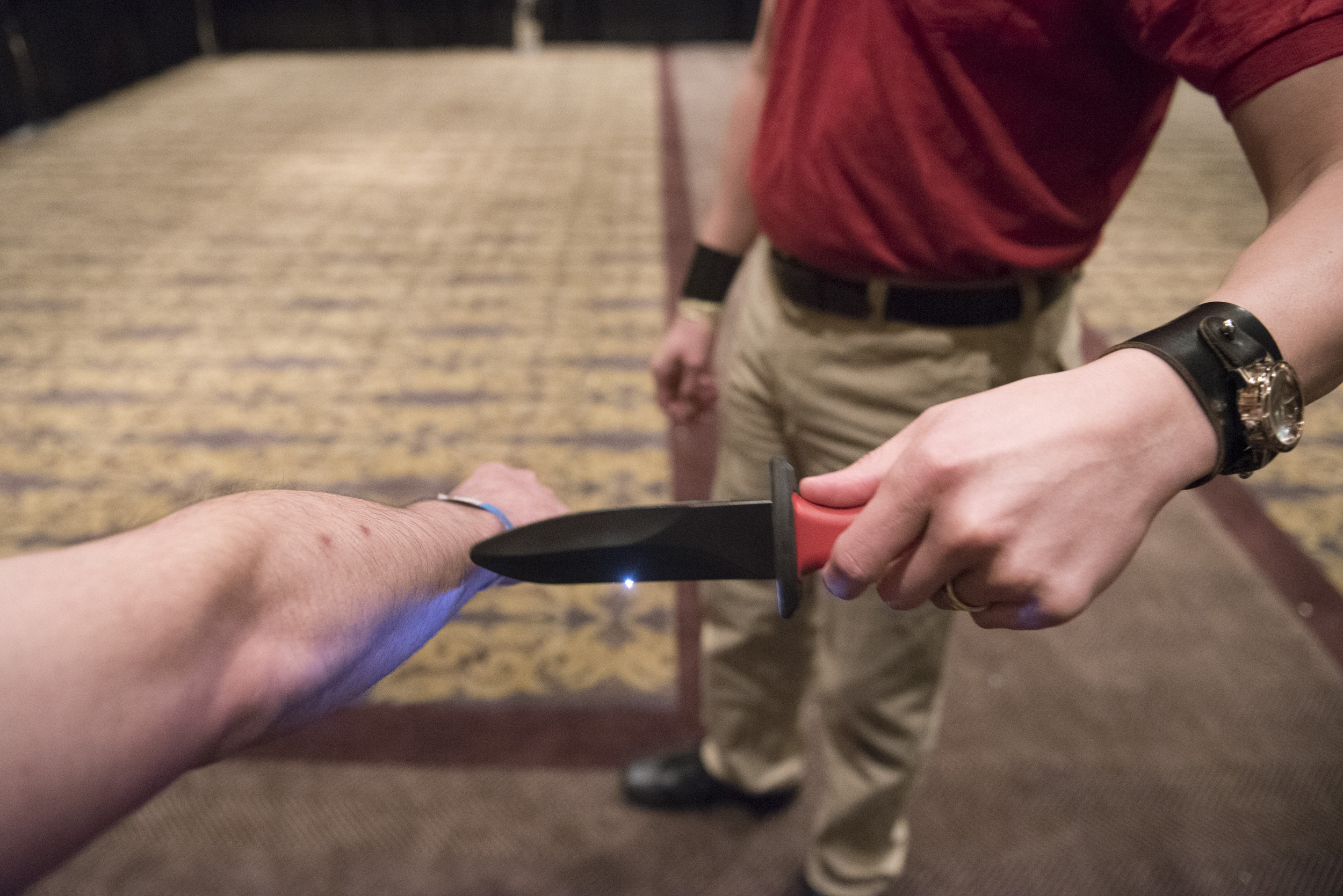 A Shocknife is demonstrated at CombatCon at The Palms Resort and Casino in Las Vegas, Saturday, June 27, 2015.(Jason Ogulnik/Las Vegas Review-Journal)