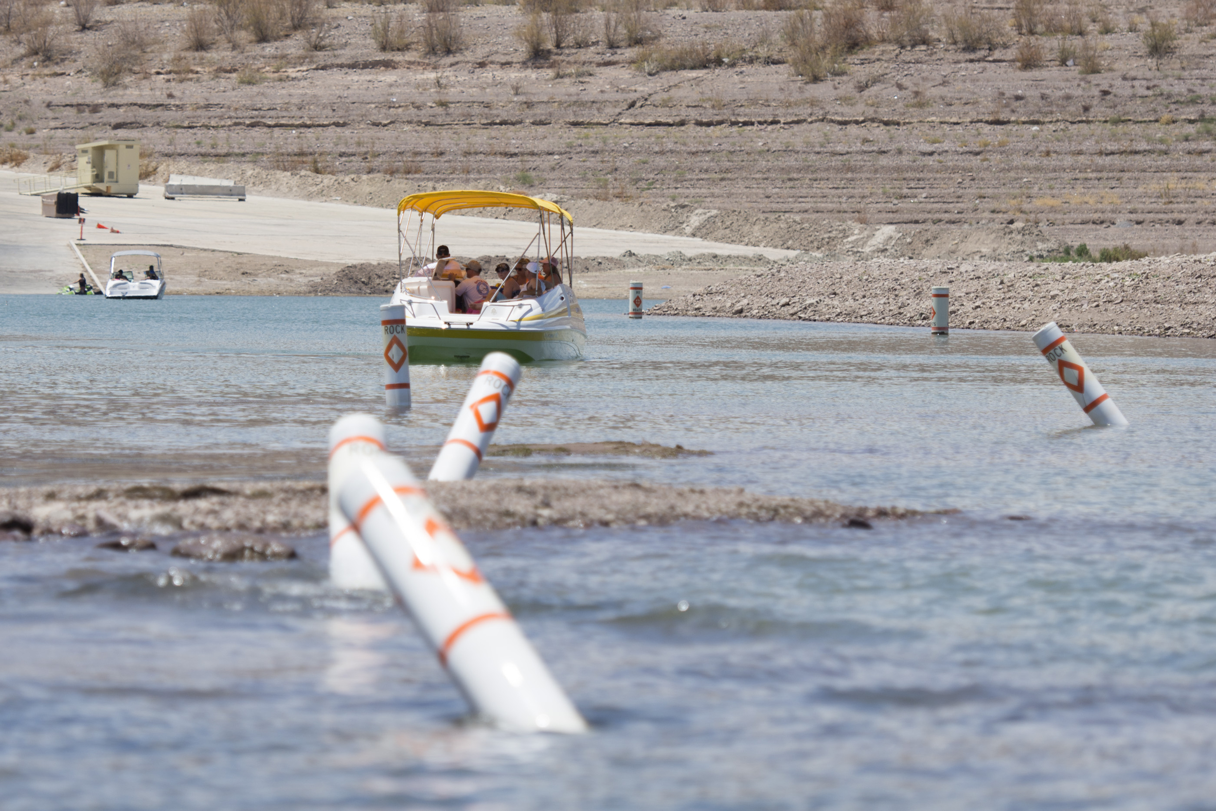 A newly formed island due to Lake Mead's receding waterline is shown in Boulder City, Friday, July 3, 2015.(Jason Ogulnik/Las Vegas Review-Journal)