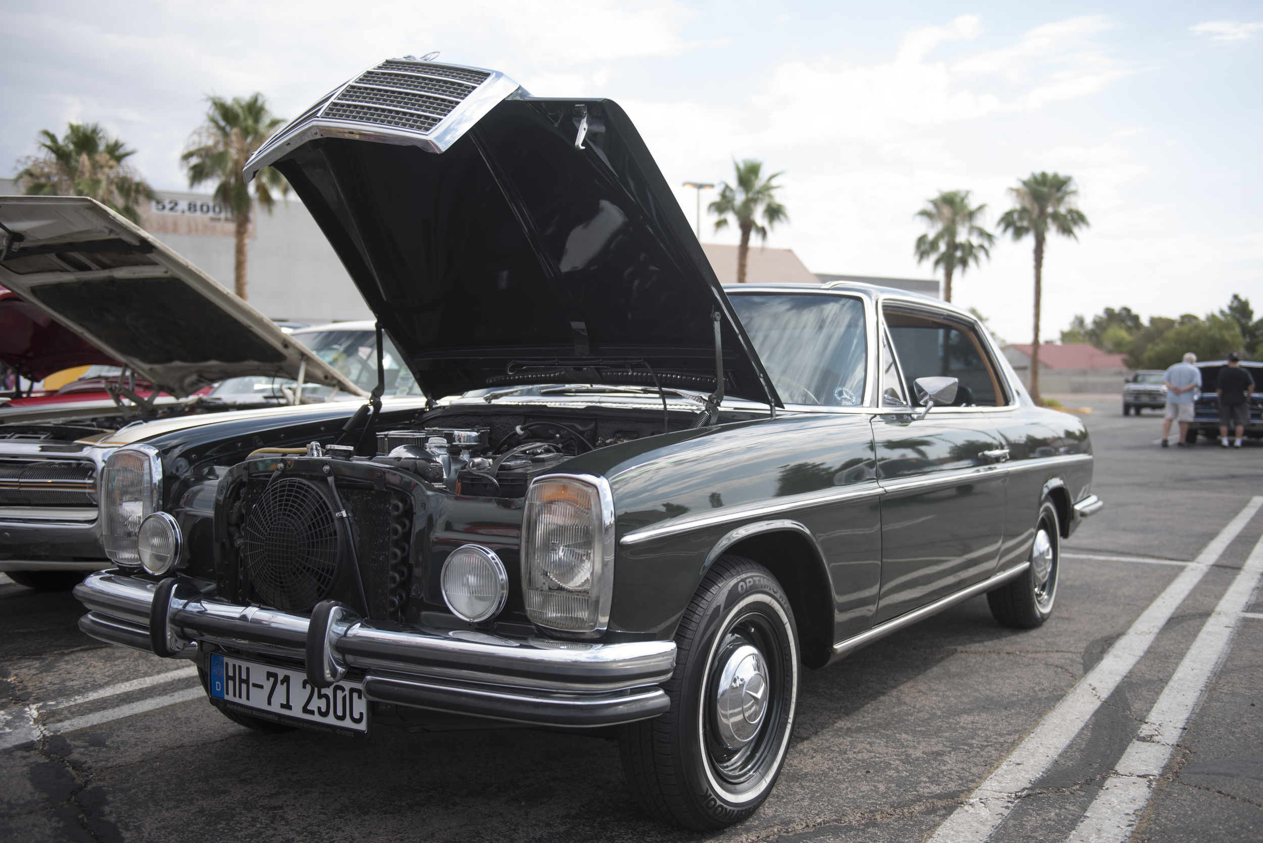 Barbara Benson's 1971 Mercedes-Benz 250 coupe is on display at the West End Boys car gathering in the Vons parking lot at 6000 West Cheyenne Avenue in Las Vegas, Sunday, July 5, 2015.(Jason Ogulnik/Las Vegas Review-Journal)