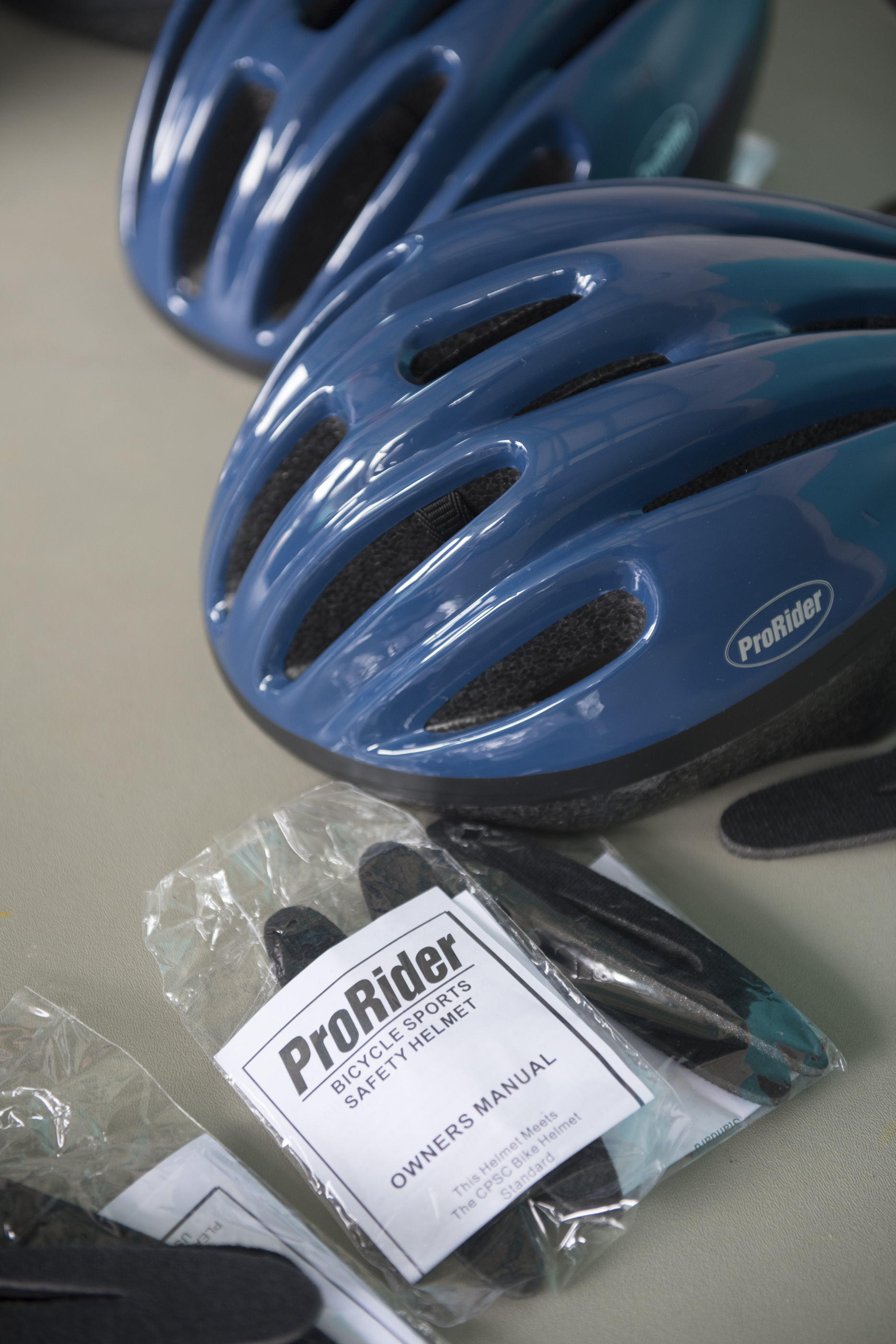 Bicycle helmets to be given away are shown at Black Mountain Recreation Center in Henderson, Saturday, July 18, 2015.(Jason Ogulnik/Las Vegas Review-Journal)