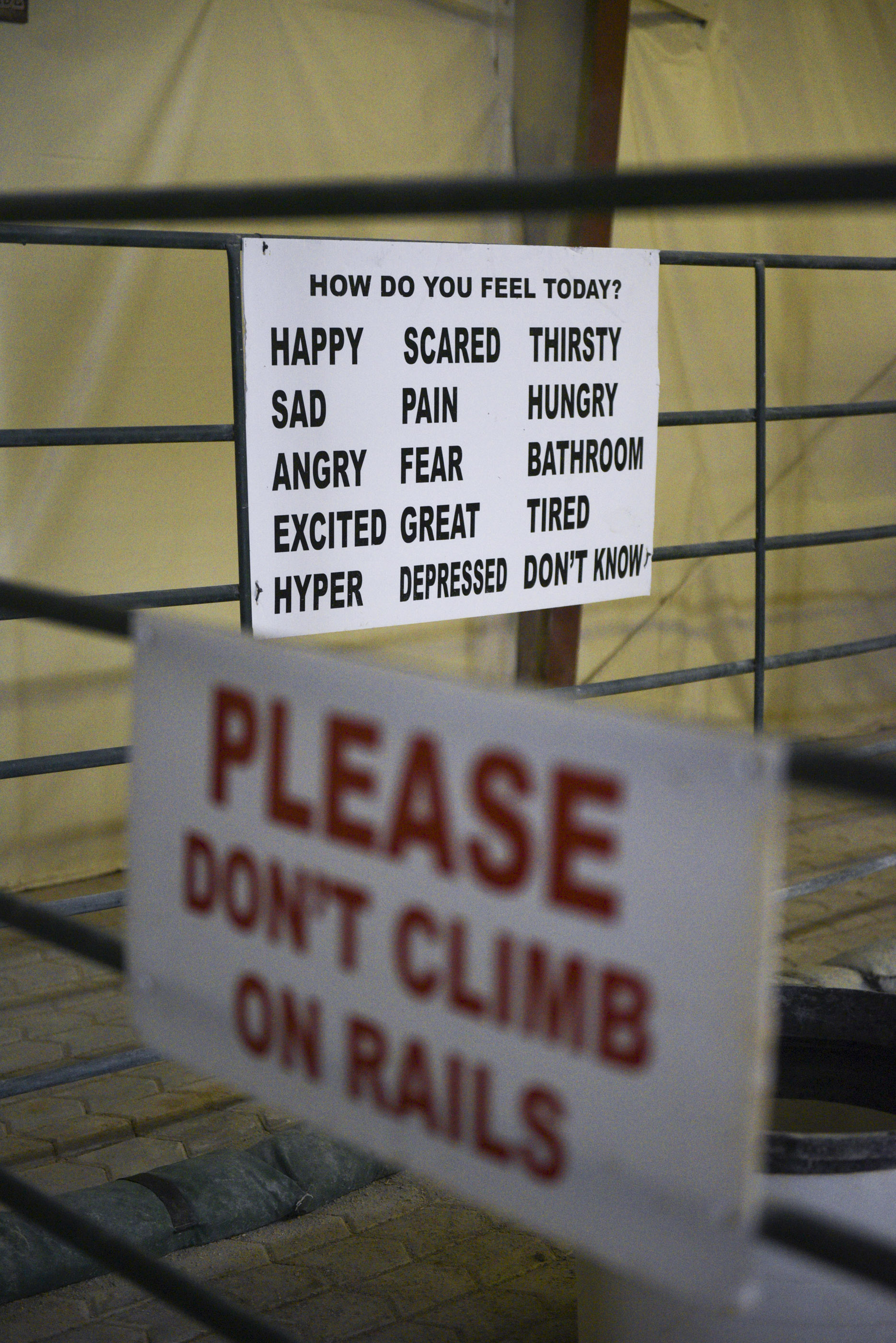 Signage is on display in the climate controlled arena at Paradise Ranch in Las Vegas, Monday, June 1, 2015.(Jason Ogulnik/Las Vegas Review-Journal)