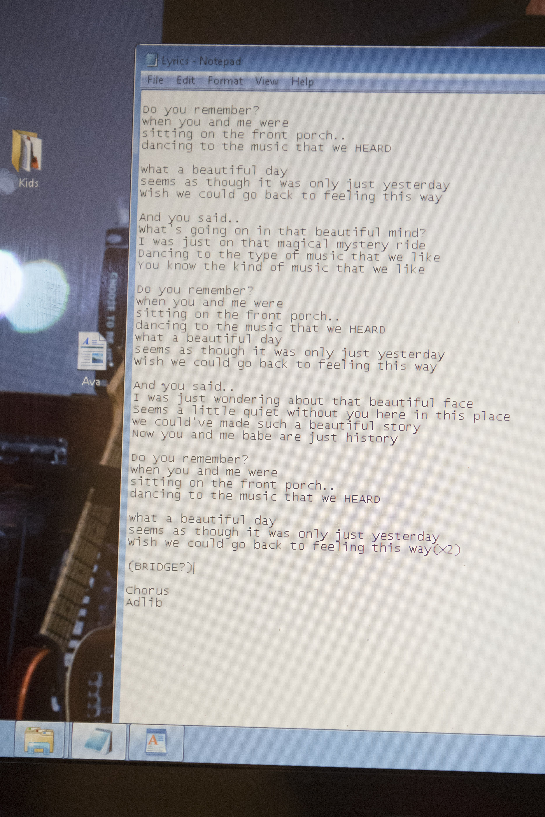 "The lyrics to Ava Thrasher's song ""remember"" are shown on a laptop computer screen at National Southwestern Recording in Las Vegas, Thursday, July 16, 2015.(Jason Ogulnik/Las Vegas Review-Journal)"