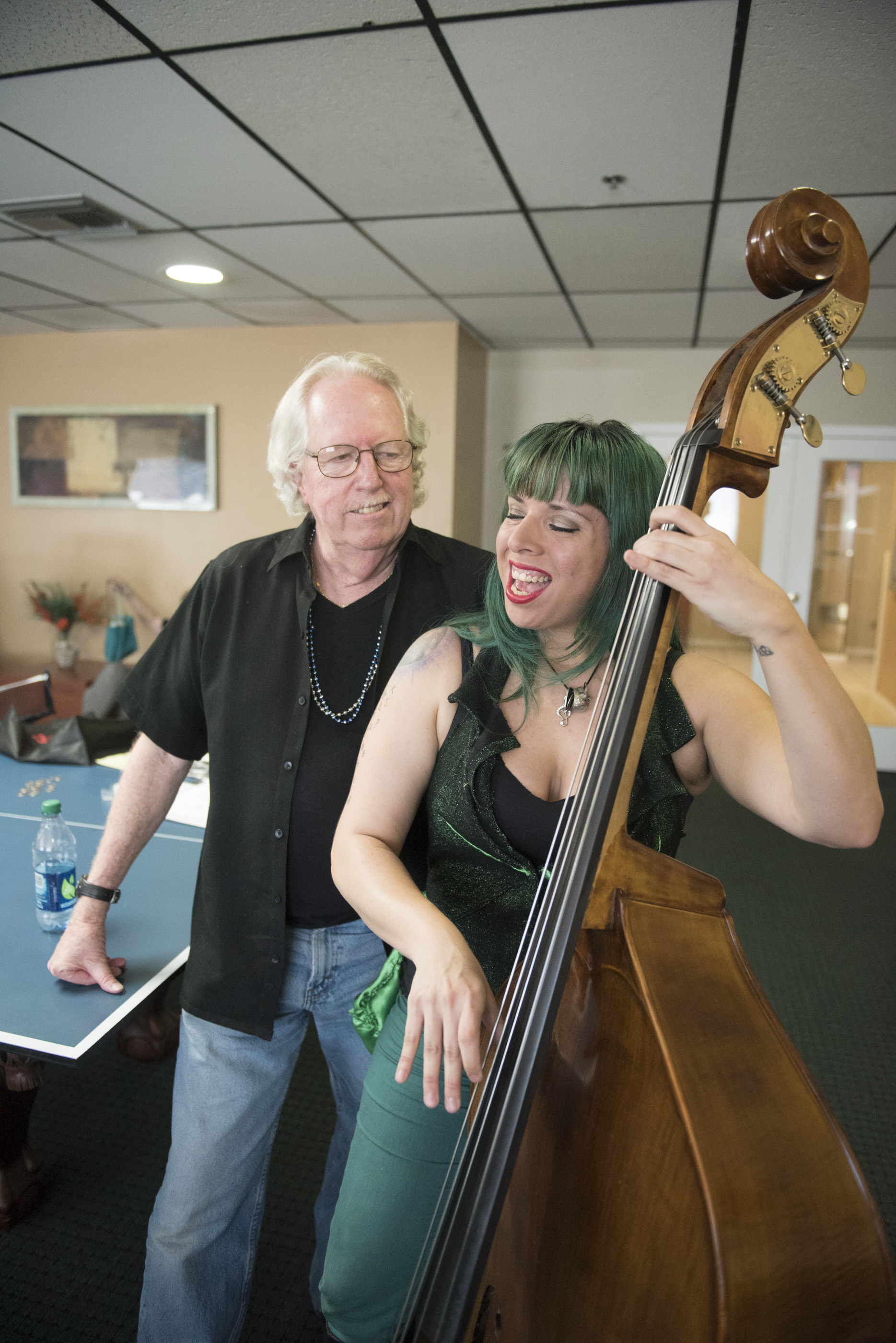 """From left, Lee Mallory and Jill """"Mizz Absurd"""" Avilez rehearse for their upcoming show entitled """"Funky Love"""" in the community room at Mallory's Las Vegas residence, Sunday, Aug. 2, 2015. Funky Love will debut at Double Down Saloon on Saturday August 8. (Jason Ogulnik/Las Vegas Review-Journal)"""