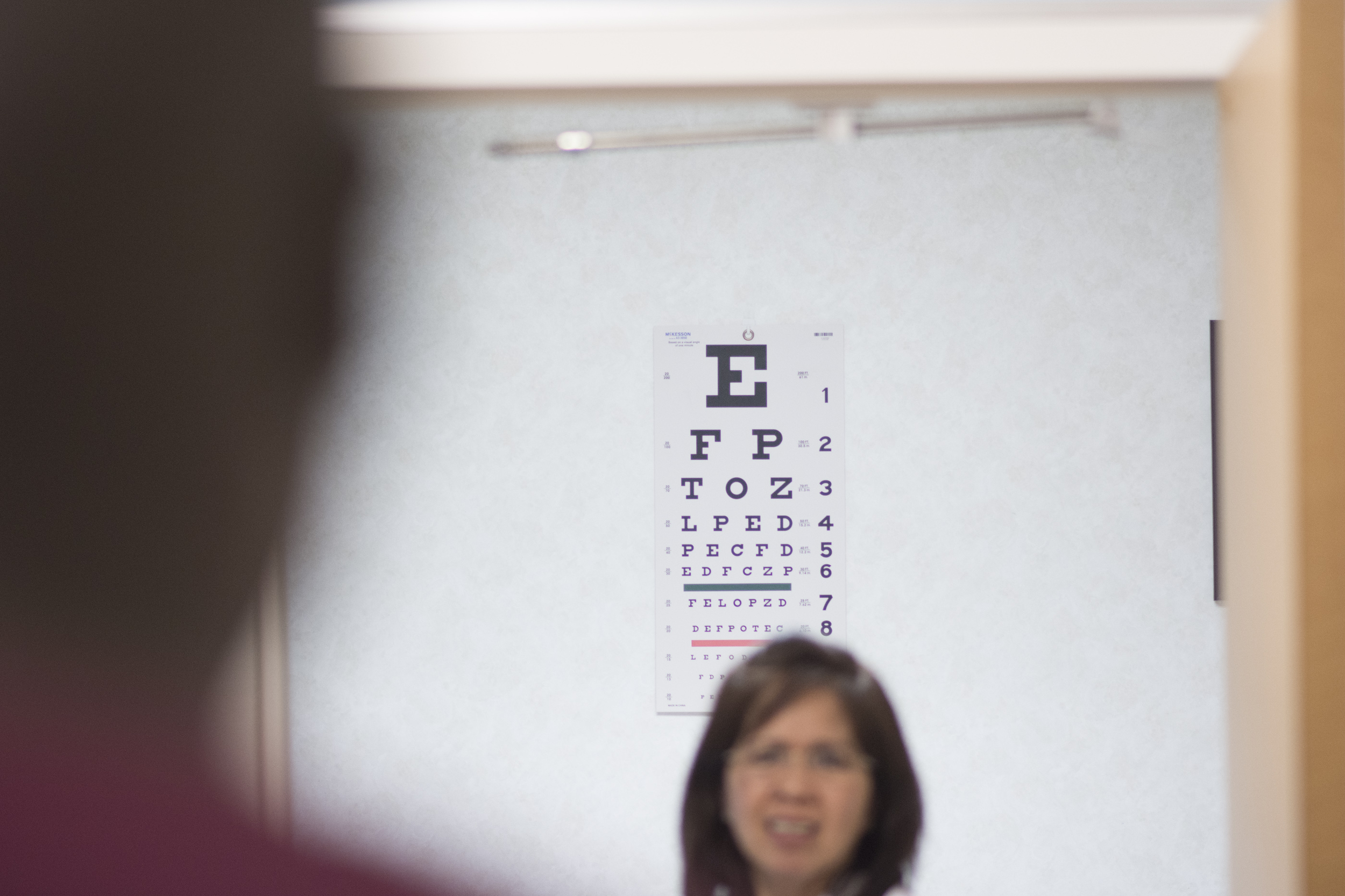 Nurse practitioner Yvette Alto-Buenaflor tests a patient's eyesight at CVS Pharmacy's Minute Clinic at 1825 East Warm Springs Road in Las Vegas, Thursday, Aug. 13, 2015. Howard visits the clinic to have a physical for a driving position with the Department of Transportation. (Jason Ogulnik/Las Vegas Review-Journal)