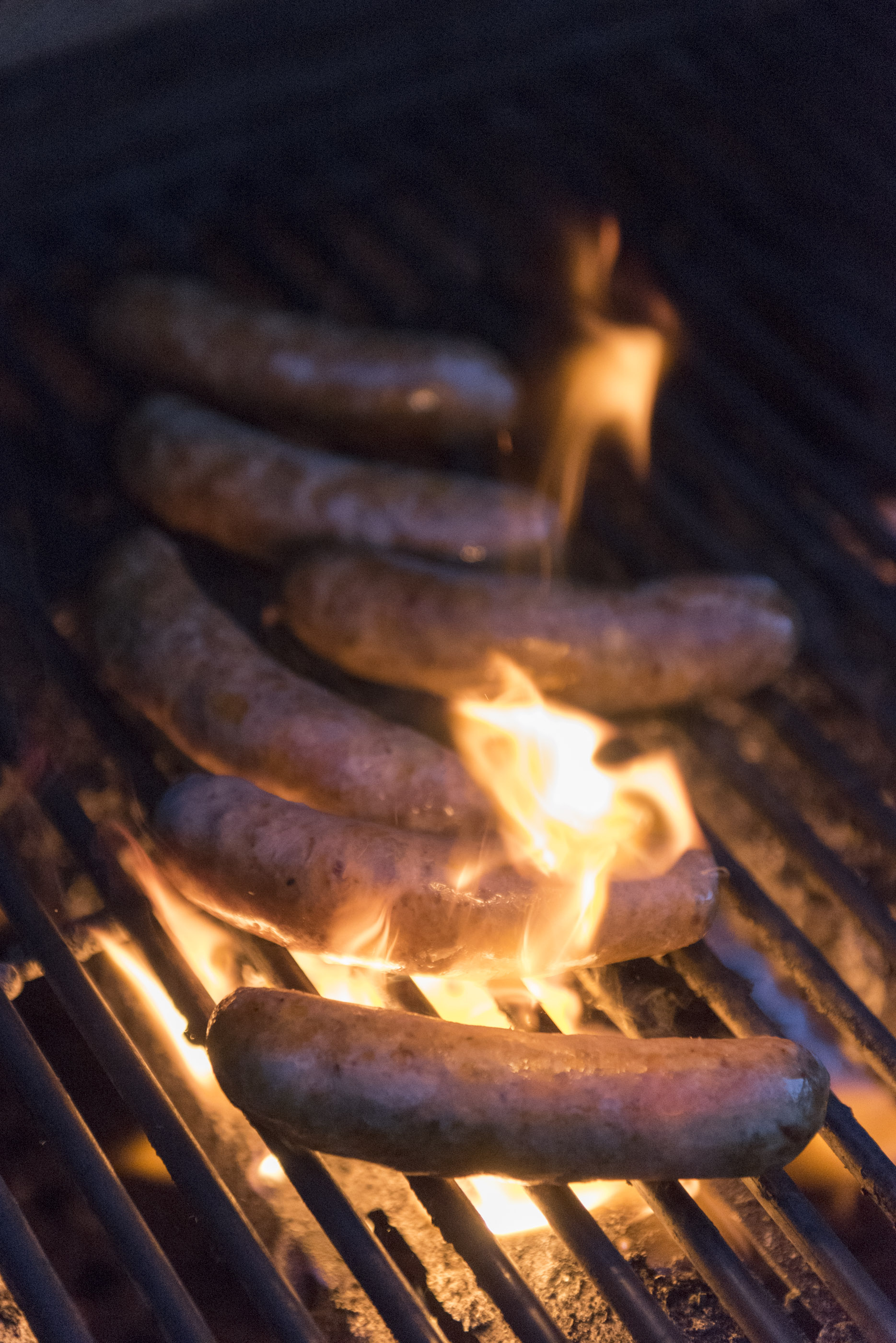 Sausages are grilled as firefighter Ted Ramey prepares dinner for the six man crew at Las Vegas Fire & Rescue's Fire Station 41 in Las Vegas Monday, Jan. 11, 2016. The dinner consists of Italian stuffed shells, grilled sausage, garlic bread, green salad and banana cream pie. Jason Ogulnik/Las Vegas Review-Journal