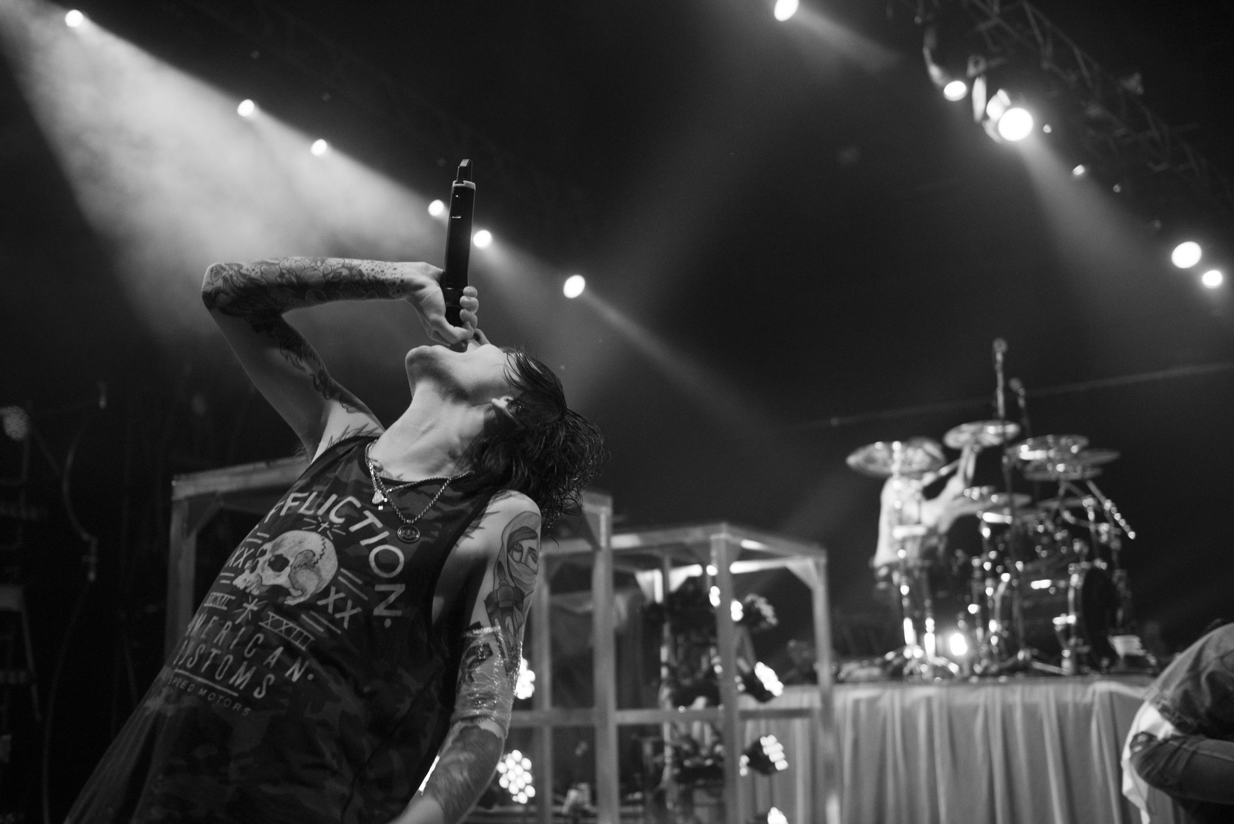 Denis Stoff of Asking Alexandria performs at The Joint at Hard Rock Hotel & Casino in Las Vegas Saturday, Feb. 6, 2016. Photo by Jason Ogulnik