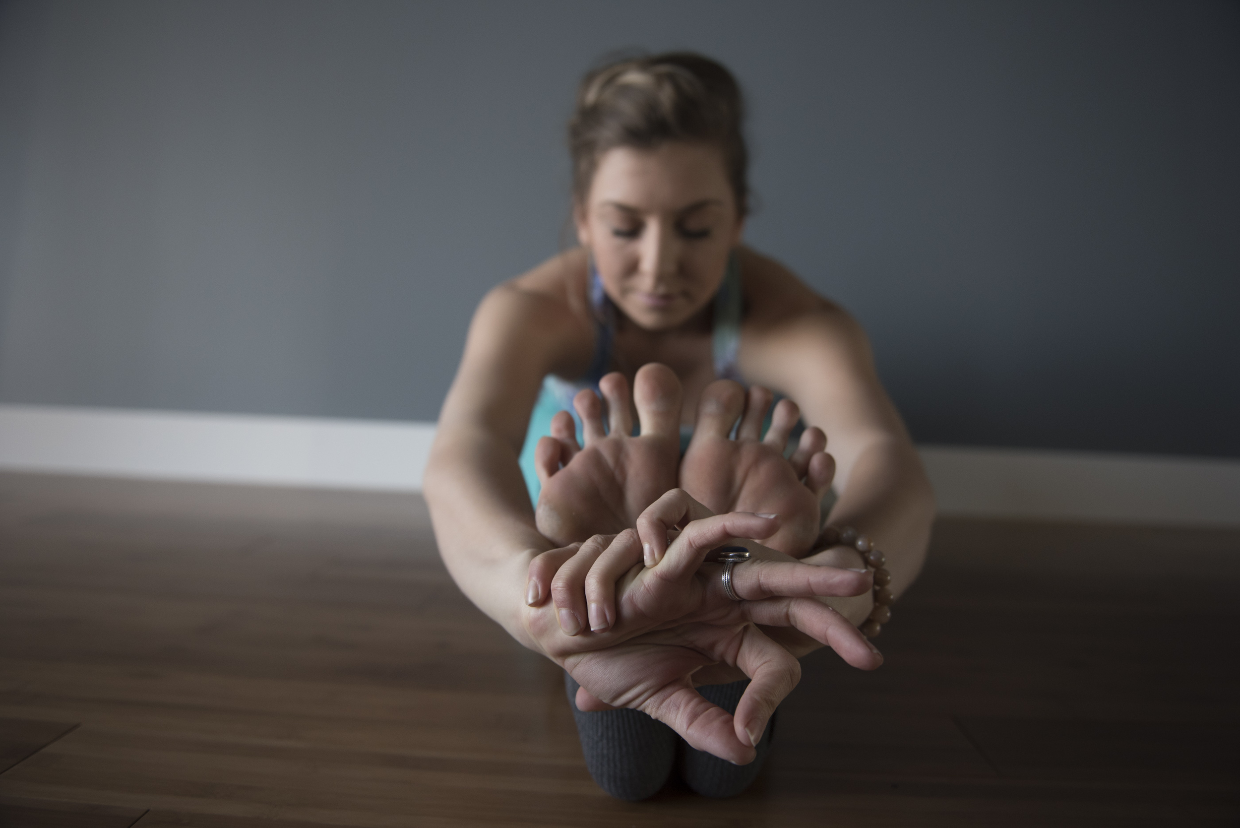 Ashley Cottrell, co-owner of the soon to be opened Evolution Yoga, demonstrates yoga poses in the studio at 1225 W. Warm Springs Rd. in Henderson Monday, Feb. 1, 2016. Jason Ogulnik/Las Vegas Review-Journal