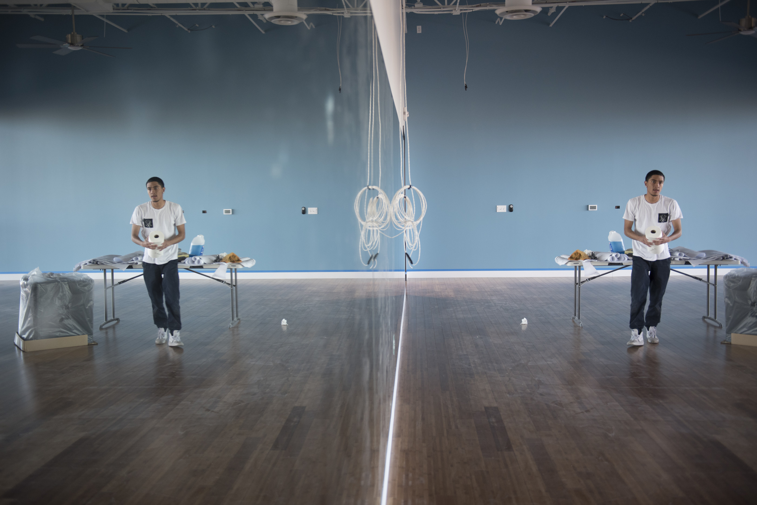 Eric Gutierrez cleans the mirrors in the studio of the soon to be opened Evolution Yoga at 1225 W. Warm Springs Rd. in Henderson Monday, Feb. 1, 2016. Jason Ogulnik/Las Vegas Review-Journal