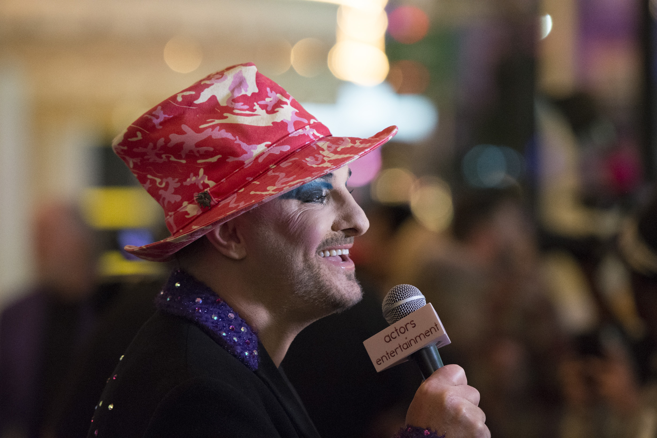 Boy George impersonator Keith George speaks with a reporter on the red carpet ahead of The Reel Awards at Golden Nugget Hotel Casino in Las Vegas Monday, Feb. 22, 2016. The Reel Awards are meant to be a humorous tribute to the real Academy Awards. Jason Ogulnik/Las Vegas Review-Journal