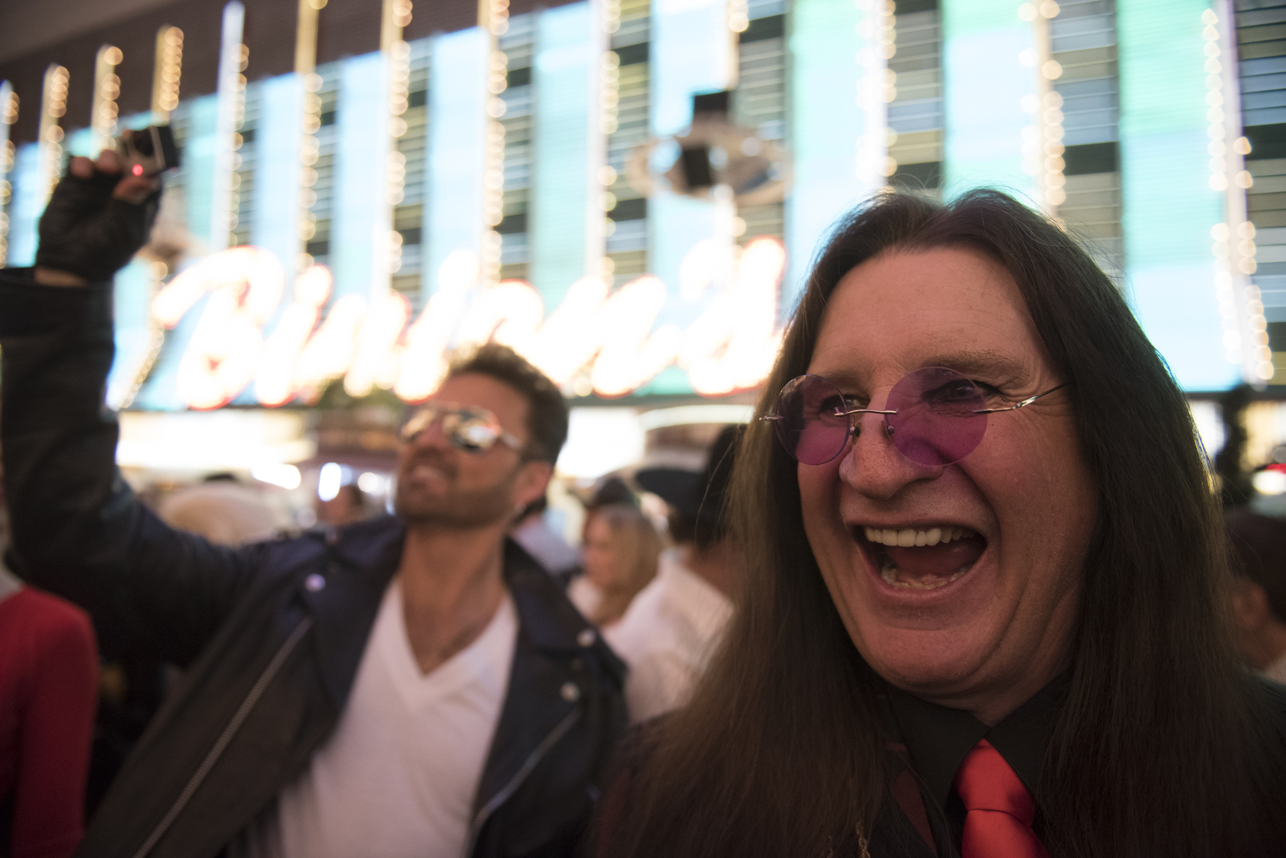 Ozzy Osbourne impersonator Don Rugg, right, and George Michael impersonator Bill Pantazis hang out during the red carpet event ahead of The Reel Awards at Golden Nugget Hotel Casino in Las Vegas Monday, Feb. 22, 2016. The Reel Awards are meant to be a humorous tribute to the real Academy Awards. Jason Ogulnik/Las Vegas Review-Journal