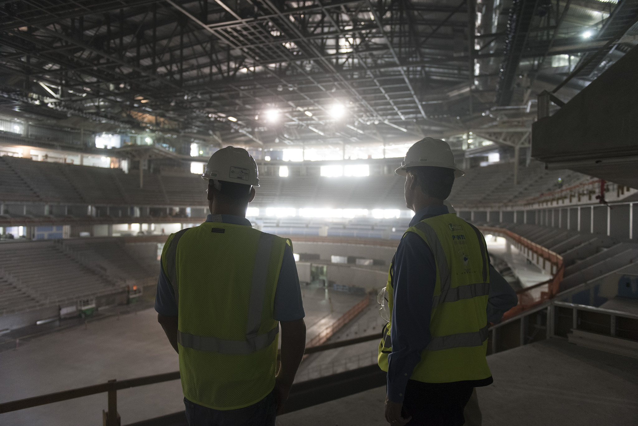 Mark Faber, senior vice president for Global Partnerships at AEG, right, and Shaun Kriedeman, director for Icon Venue Group give a tour of T-Mobile Arena located adjacent to New York-New York Hotel & Casino in Las Vegas Wednesday, Oct. 21, 2015. Jason Ogulnik/Las Vegas Review-Journal